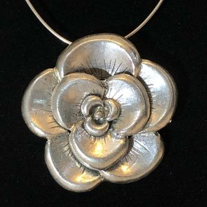 Silver plated large rose pendant, vintage age